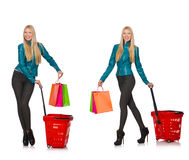 The woman after the christmas shopping Royalty Free Stock Photos