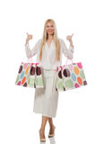 The woman in christmas shopping concept on white Stock Photo
