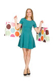 Woman in christmas shopping concept on white Royalty Free Stock Photography