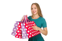 Woman in christmas shopping concept on white Stock Images