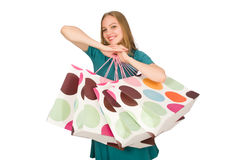Woman in christmas shopping concept on white Stock Image