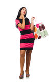 Woman in christmas shopping concept on white. The woman in christmas shopping concept on white Stock Image