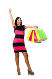 Woman in christmas shopping concept on white. The woman in christmas shopping concept on white Royalty Free Stock Image