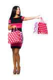Woman in christmas shopping concept on white Royalty Free Stock Images