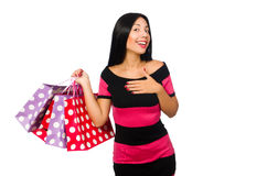 Woman in christmas shopping concept on white Stock Photo