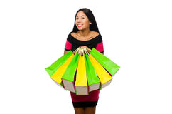 Woman in christmas shopping concept on white. The woman in christmas shopping concept on white Stock Photo