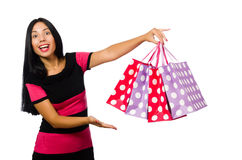 Woman in christmas shopping concept on white Royalty Free Stock Image