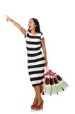 Woman in christmas shopping concept on white. The woman in christmas shopping concept on white Stock Photography