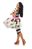 Woman in christmas shopping concept on white Stock Photos