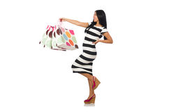 Woman in christmas shopping concept on white. The woman in christmas shopping concept on white Stock Photos