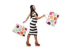 Woman in christmas shopping concept on white Royalty Free Stock Photo