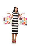 Woman in christmas shopping concept on white. The woman in christmas shopping concept on white Royalty Free Stock Photos
