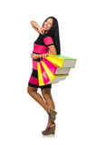 Woman in christmas shopping concept on white. The woman in christmas shopping concept on white Royalty Free Stock Photography