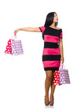 The woman in christmas shopping concept on white. Woman in christmas shopping concept on white Stock Image
