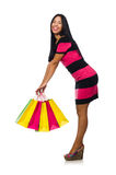 The woman in christmas shopping concept on white. Woman in christmas shopping concept on white Royalty Free Stock Image