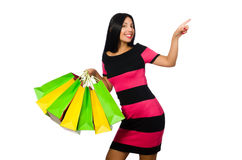 The woman in christmas shopping concept on white Royalty Free Stock Photography