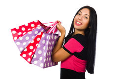 The woman in christmas shopping concept on white Royalty Free Stock Image