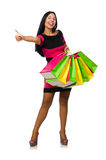 The woman in christmas shopping concept on white Royalty Free Stock Photo