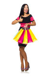 The woman in christmas shopping concept on white Stock Images