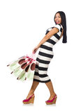The woman in christmas shopping concept on white Royalty Free Stock Photos
