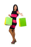 The woman in christmas shopping concept on white Stock Photography