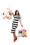 Woman in christmas shopping concept on white Royalty Free Stock Photos