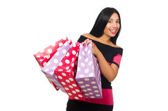 The woman in christmas shopping concept on white. Woman in christmas shopping concept on white Stock Photo