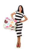 The woman in christmas shopping concept on white Stock Image
