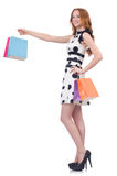 Woman with christmas shopping Royalty Free Stock Images