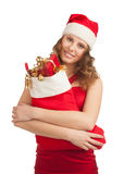 Woman with Christmas socks Stock Image