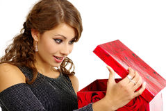Woman with christmas surprise  Royalty Free Stock Images