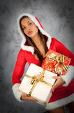 Woman in christmas time Royalty Free Stock Photography