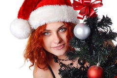 Woman with christmas tree Royalty Free Stock Photos
