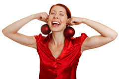 Woman with christmas tree balls Stock Images