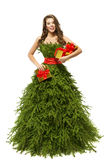 Woman Christmas Tree Dress, Fashion Model Girl Presents on White Royalty Free Stock Photos