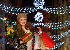 Woman with Christmas tree, gift and shopping bags in Venice Stock Images