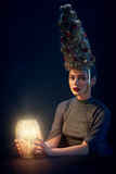 Woman with Christmas tree hairstyle Royalty Free Stock Photos