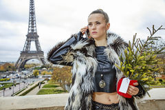 Woman with Christmas tree in Paris talking on a cell phone Stock Photography