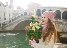 Woman with Christmas tree in Venice looking into distance Stock Photos