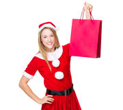Woman with Christmas woman and hold with shopping bag. Christmas woman isolated on white Royalty Free Stock Photography