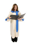 Woman In Church Robe Singing 2 Stock Photography