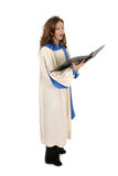 Woman In Church Robe Singing 4 stock photos