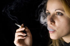 Woman With Cigar Stock Photo