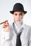 Woman with cigar Stock Image