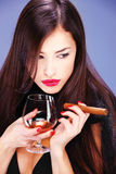 Woman and cigar Stock Photo