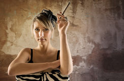 Woman with cigar Stock Photos