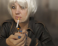 Woman with Cigarette Royalty Free Stock Photos