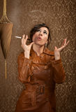 Woman with cigarette Royalty Free Stock Images