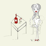 Woman with a cigarette. And bottle of wine Stock Photo