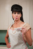 Woman with Cigarette and Coffee Cup Royalty Free Stock Photos